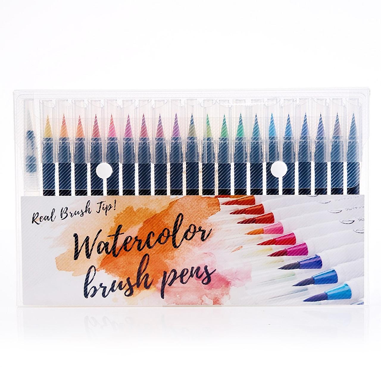Якісні акварельні маркери з пензликом 20 кольорів, маркери двосторонні для ескізів і скетчів