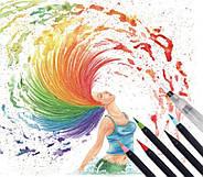 Якісні акварельні маркери з пензликом 20 кольорів, маркери двосторонні для ескізів і скетчів, фото 4