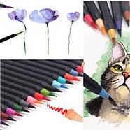 Якісні акварельні маркери з пензликом 20 кольорів, маркери двосторонні для ескізів і скетчів, фото 5