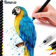 Якісні акварельні маркери з пензликом 20 кольорів, маркери двосторонні для ескізів і скетчів, фото 6