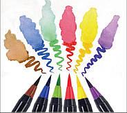 Якісні акварельні маркери з пензликом 20 кольорів, маркери двосторонні для ескізів і скетчів, фото 7