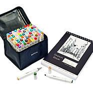 Профессиональные двухсторонние спиртовые маркеры для художников Touch Smooth 80 шт + Скетчбук 50 листов А4, фото 3