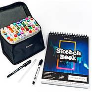 Професійний набір для малювання скетч маркери Touch Smooth 60 шт + скетчбук 50 аркушів А4 + чорні лайнери, фото 3