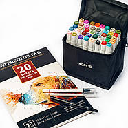 Набор двусторонних спиртовых маркеров 40 цветов touch smooth для скетчинга + бумага для рисования 20 листов, фото 3