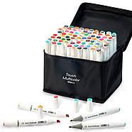 Набор профессиональных двухсторонних маркеров для скетчинга 80 цветов в чехле Touch Multicolor + Скетчбук, фото 3