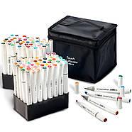 Набор профессиональных двухсторонних маркеров для скетчинга 80 цветов в чехле Touch Multicolor + Скетчбук, фото 4