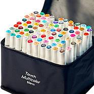 Набор профессиональных двухсторонних маркеров для скетчинга 80 цветов в чехле Touch Multicolor + Скетчбук, фото 5
