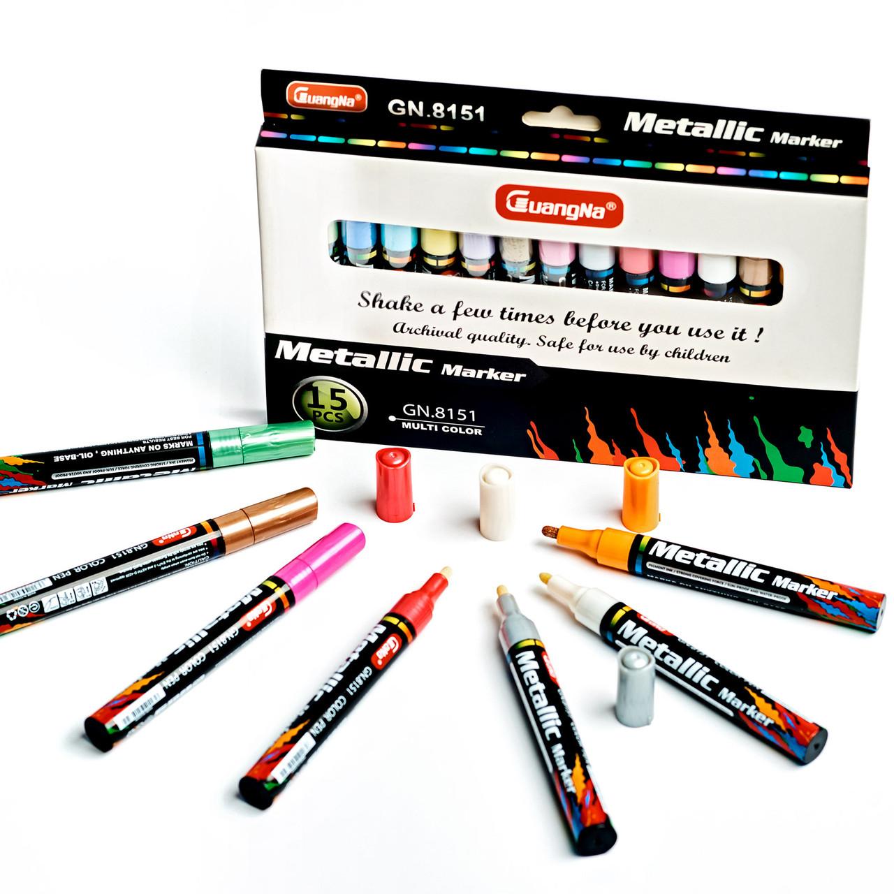 Набір перманентних водостійких маркерів Сиапдпа 15 шт з ефектом металік для малювання (GN 8151) Відео-огляд