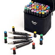 Величезний Набір скетч маркерів 48 кольорів Touch Raven для малювання, в чорному корпусі, фото 2