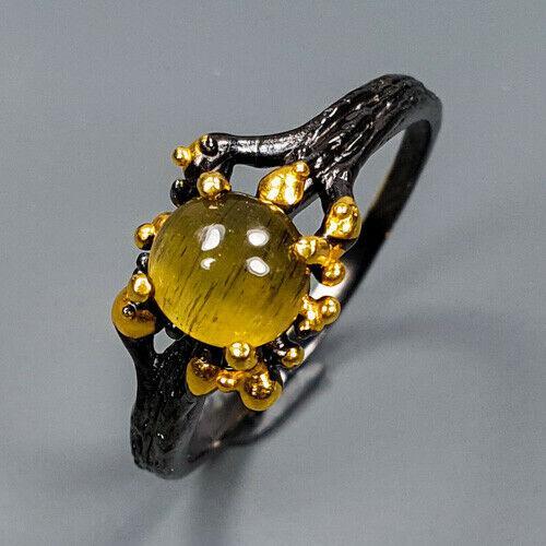 Серебряное кольцо с апатитом эффект Кошачьего глаза, 1739КА