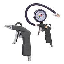 Набор пневмоинструментов 6 единиц, пистолет для накачки шин, продувочный пистолет, шланг полиуретановый 5м.,