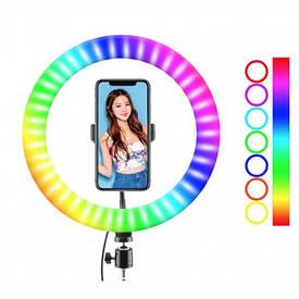Кольцевая LED лампа RGB MJ38 (38см) (1 крепление) (управление на проводе+пульт)
