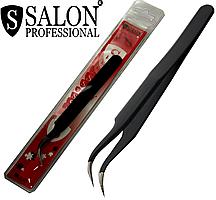 Пинцеты косметические SALON PROFESSIONAL (изогнутые) для наращивания ресниц
