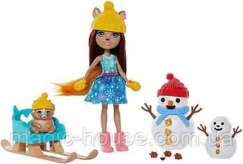 Игровой набор Энчантималс Белочки и снеговики Enchantimals Snowman Face-Off With Sharlotte Squirrel Оригинал