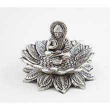 """Подставка для аромапалочек """"Будда в Лотосе"""" алюминиевая белая"""