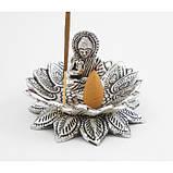 """Подставка для аромапалочек """"Будда в Лотосе"""" алюминиевая белая, фото 2"""