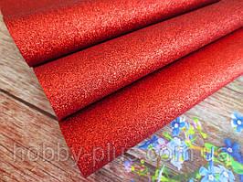 Екокожа (кожзам) з дрібними блискітками на тканинній основі, ЧЕРВОНИЙ, 20х27 см