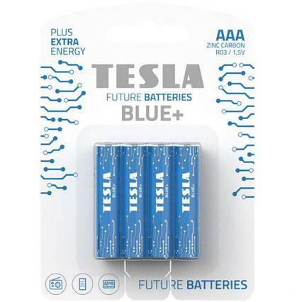 Батарейки TESLA BATTERIES AAA BLUE+ (R03), 4 штуки