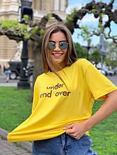 Жіноча футболка, бавовна, р-р універсальний 42-46 (жовтий)