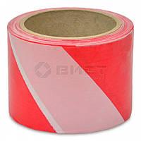 Стрічка сигнальна червоно-біла 100мм х 50м 10-598 Favorit // Лента сигнальная красно-белая