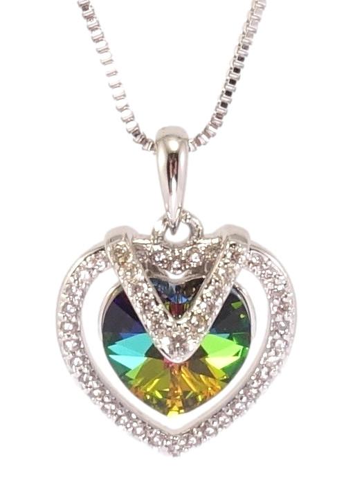 """Кулон ХР Родій з кр-ми Swarovski на ланцюжку """"Витончене серце з кристалом Vitrail Medium"""" дл. 40-45см х 1мм"""