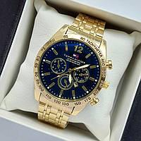 Мужские наручные часы Tommy Hilfiger, золотые с черным циферблатом, антибликовое покрытие, дата - код 2032