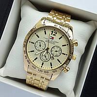 Мужские наручные часы Tommy Hilfiger золотого цвета, антибликовое покрытие, дата - код 2033