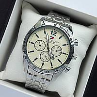 Мужские наручные часы Tommy Hilfiger серебристые, с белым циферблатом, антибликовое покрытие, дата - код 2034