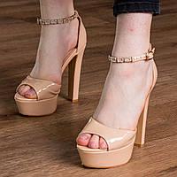 Женские стильные босоножки на каблуке Fashion Rosebud 1124 37 размер 24 см Бежевый