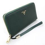Зелений шкіряний жіночий гаманець 60019 класичний на блискавці з натуральної шкіри, фото 2