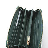Зелений шкіряний жіночий гаманець 60019 класичний на блискавці з натуральної шкіри, фото 3