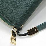 Зелений шкіряний жіночий гаманець 60019 класичний на блискавці з натуральної шкіри, фото 4