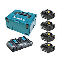 Набор аккумуляторов LXT Makita BL1850Bx2, DC18RC, Makpac (MKP3PT184)