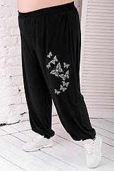Штани жіночі великого розміру на резинці висока посадка
