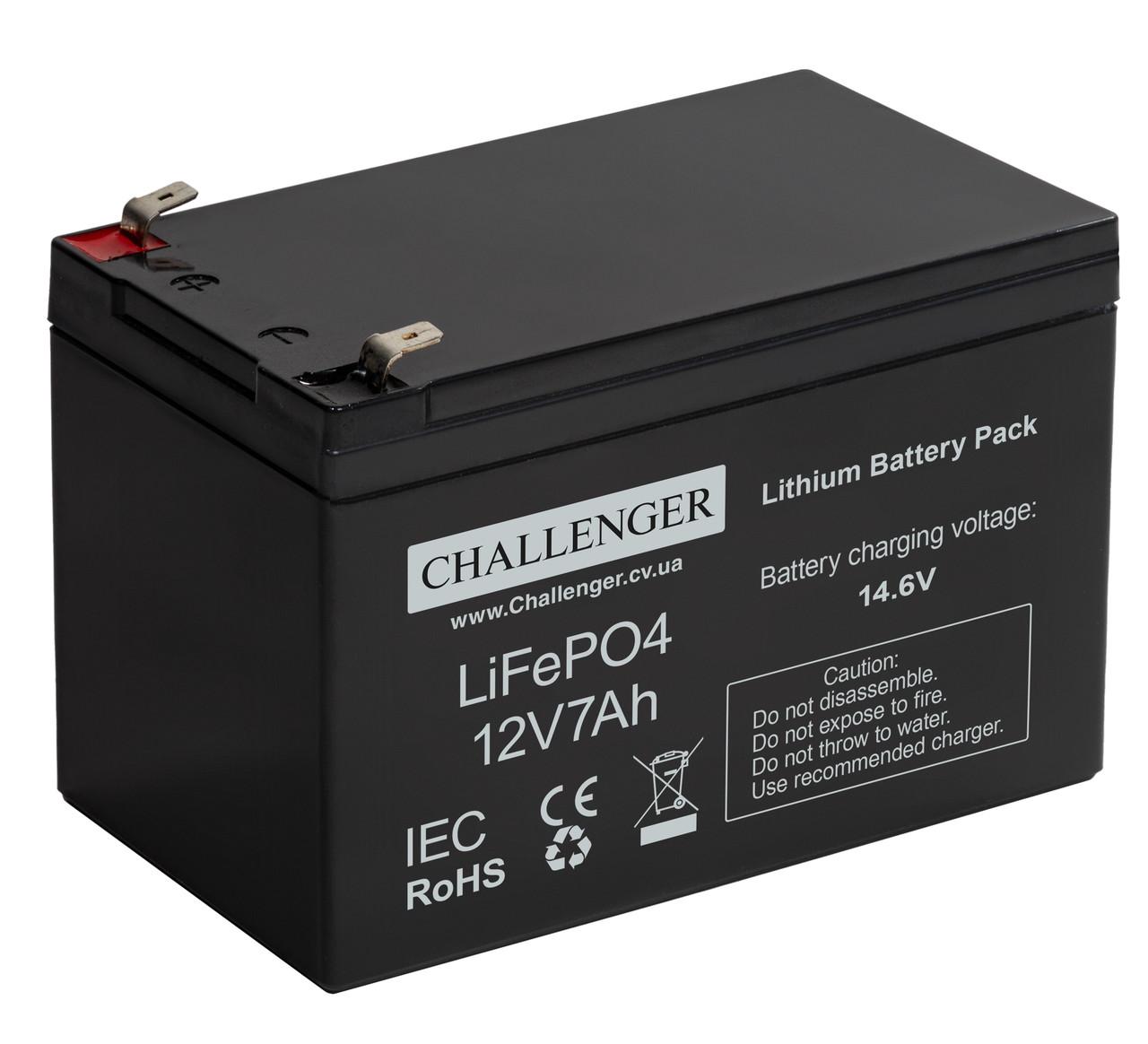 Літієвий акумулятор 12В LiFePO4 7Ач Challenger LF12-7.0