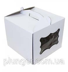 Коробка картонна для торта 30 см х 30 см х 25 см, біла з вікном (30Т) 3