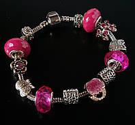 Женский браслет Pandora (Пандора) розовый с сумочкой