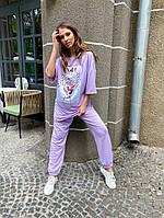 Женский летний спортивный костюм с накатом на футболке, фото 1