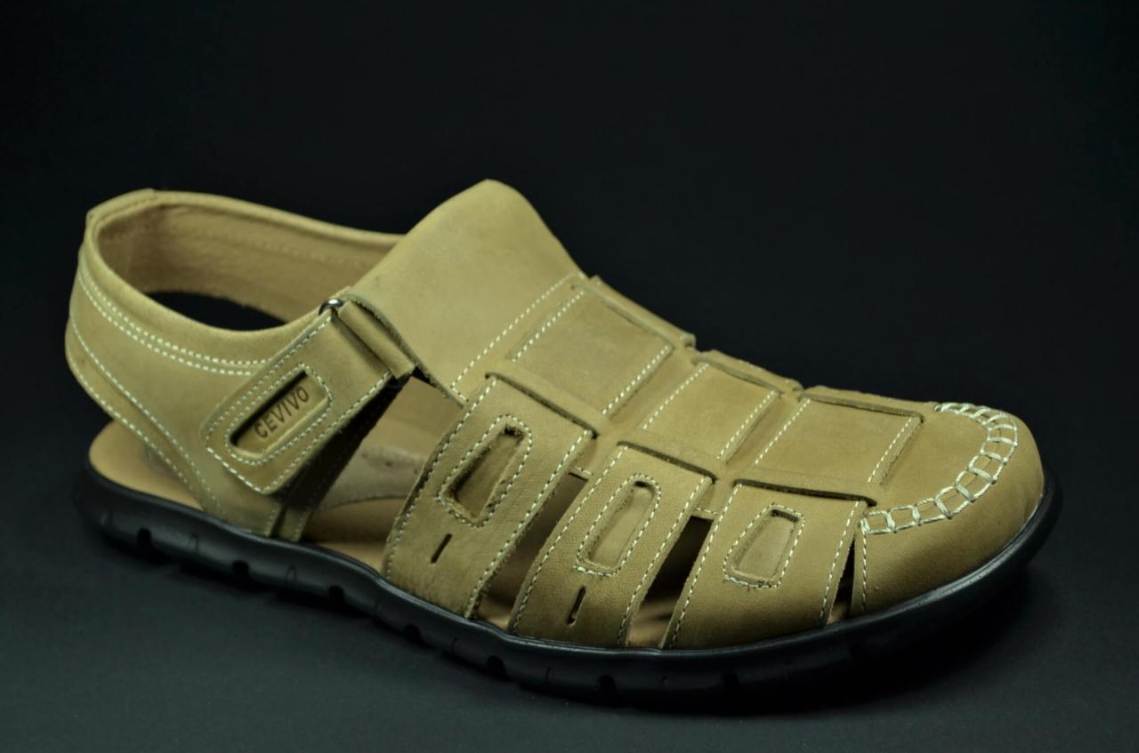 Чоловічі комфортні шкіряні сандалі оливкові Cevivo 523