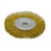 Щітка-крацовка дискова латунна 200х22,2мм 18-057 Spitce // Щетка-крацовка дисковая, латунная