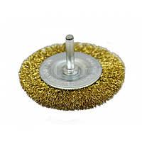 Щітка-крацовка дискова латунна зі шпилькою, 100 мм 18-062 Spitce // Щетка-крацовка дисковая, со шпилькой, латунная