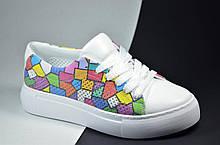 Женские летние спортивные туфли кожаные кеды белые клеточка Alexandro 21000