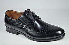 Мужские кожаные туфли полуброги черные Nord But 679