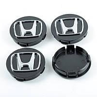 "Колпачки на титаны ""Honda"" (60/55мм) черн/хром. пластик объемный логотип ""ЛЮКС""  (4шт)"