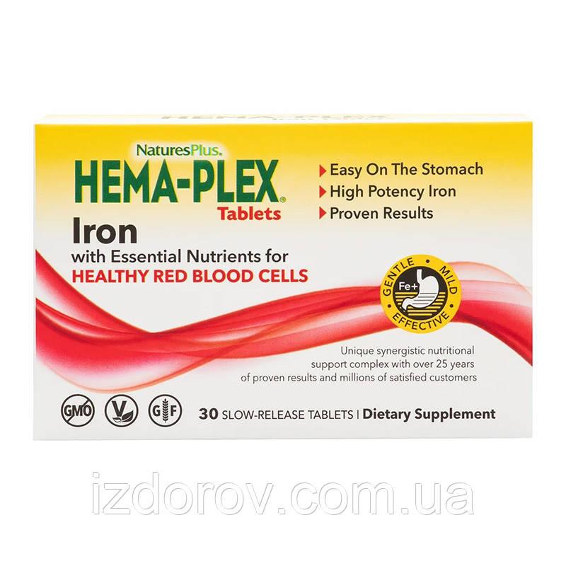 Nature's Plus, Hema-Plex, Хема-плекс, Залізо з кофакторами, 30 таблеток з тривалим вивільненням