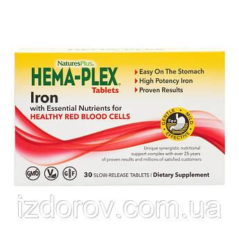 Nature's Plus, Hema-Plex, Хема-плекс, Железо с кофакторами, 30 таблеток с длительным высвобождением