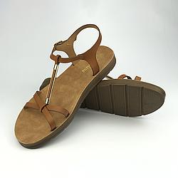 Женские босоножки сандалии плоские р.36-40 из эко-кожи, карамель Meridiana