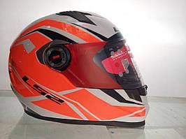 Мотошлем интеграл size:L бело оранжевый