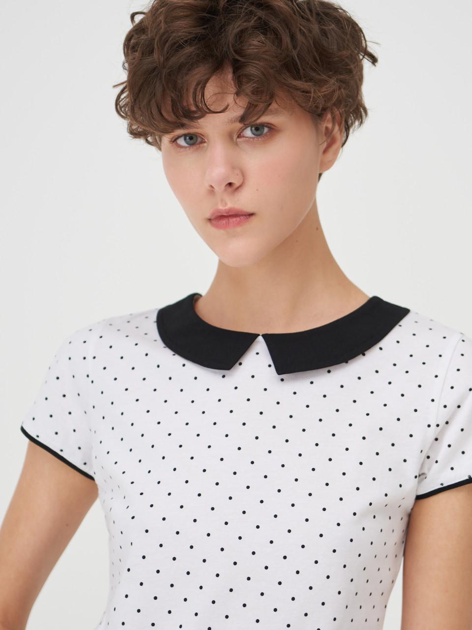 Блуза жіноча Футболка біла в горошок. Польща