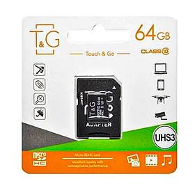 Карта памяти T&G microSDXC (UHS-3) 64 GB class 10 (с адаптером)